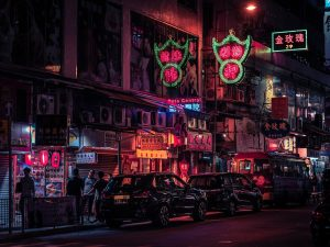 hongkong at night neon city