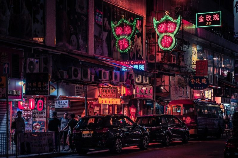 hongkong at night neon city